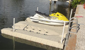 Jet Ski float attached to a seawall